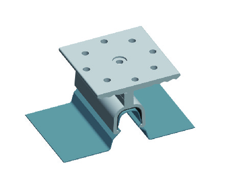 Kliplok ®700 without rail for standing seam roof mounting system. Standing seam metal roof brackets
