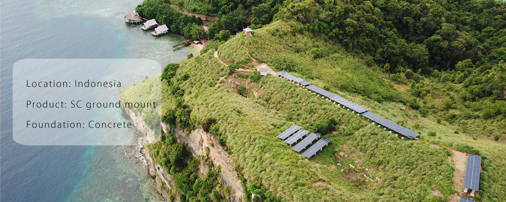 Ground solar power plant utilized Antaisolar solar racking in Indonesia